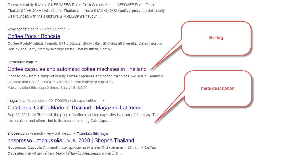 Title Tag and Meta Descriptions in Search Results